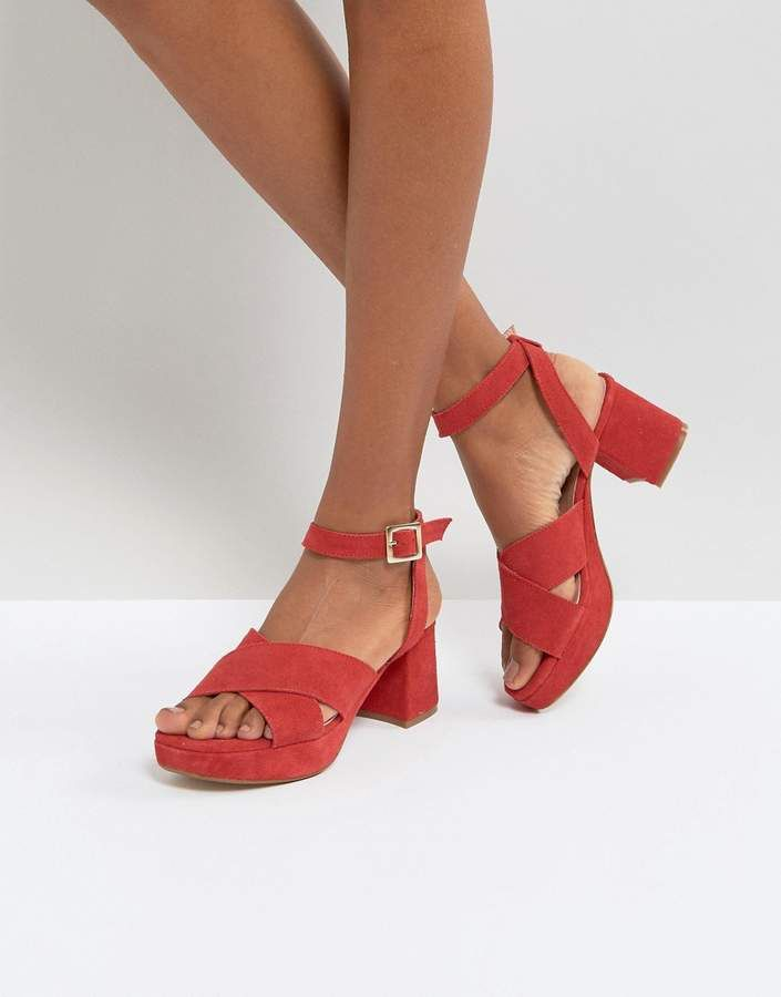DEPP Wide Fit Leather Heeled Sandals YwUg9c