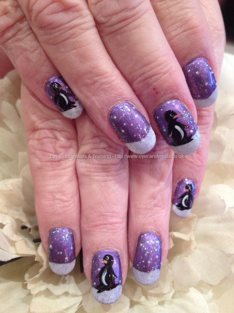 purple christmas penguin nail art nail designs