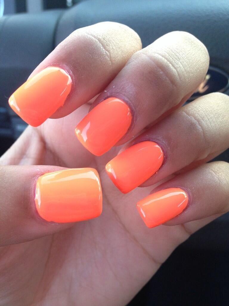 Neon orange Nail designs, Nail art, Nails