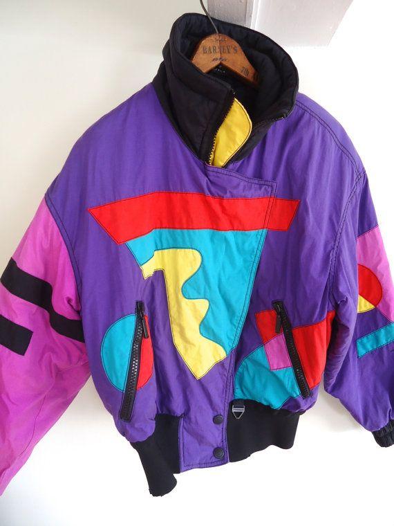 Reserved Geometric Neon Ski Jacket Vintage 90s 80s