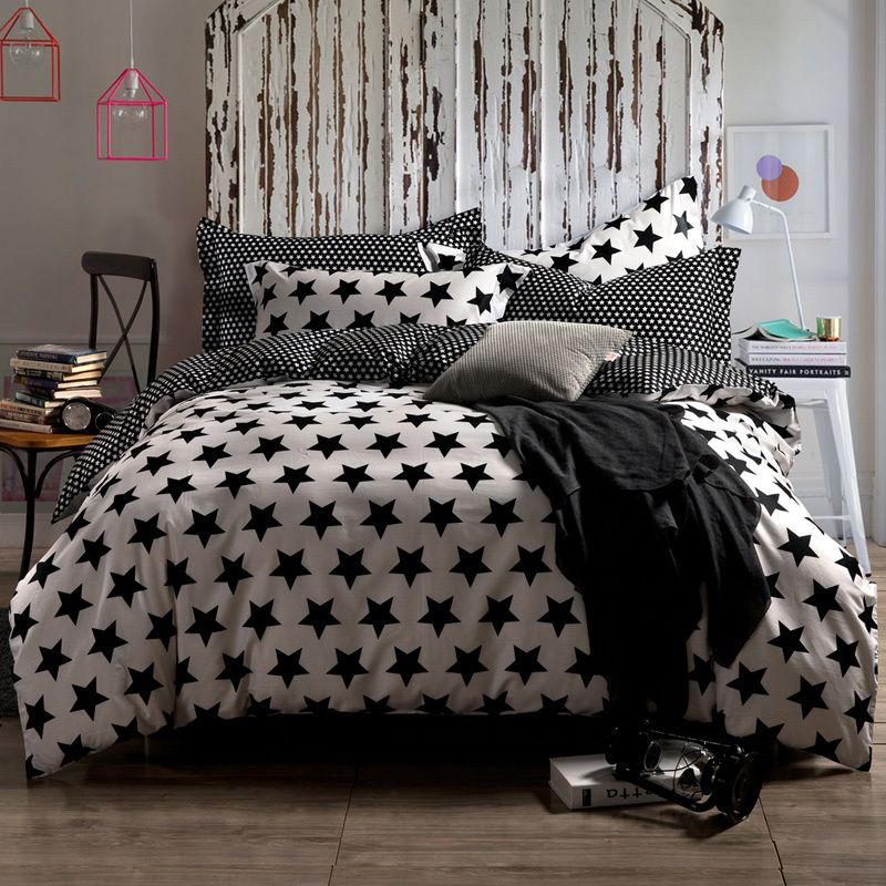Find More Bedding Sets Information About Modern Two Tones White Black Stars Set With 4 Pieces Reversible Duvet Cover King Queen Size Flat Sheet 2