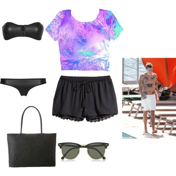 Beach Day by petersonrileyjo on Polyvore featuring H&M and Ray-Ban