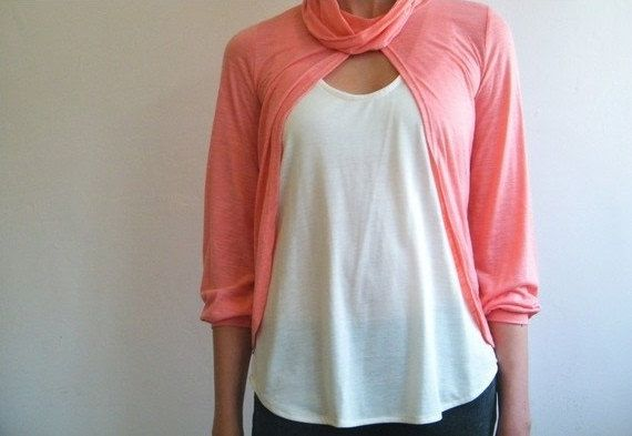 Cardigan -Free shipping - Salmon pink coral top with shawl collar.. $59.00, via Etsy.