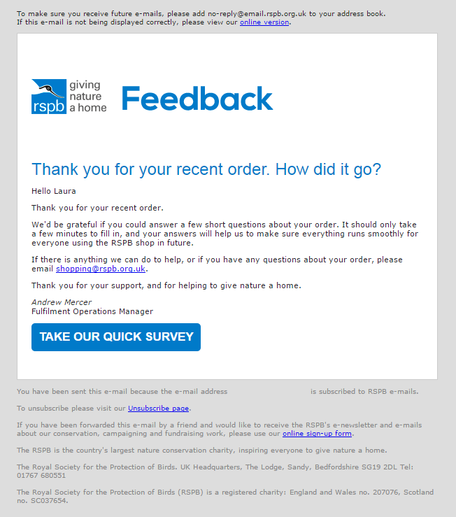 Post Purchase Email From The Rspb Shop Asking The Customer To