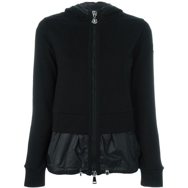 Moncler layered hooded cardigan featuring polyvore, women's fashion, clothing, tops, cardigans, black, zip front top, zip front cardigan, hooded cardigan, cardigan top and fitted tops