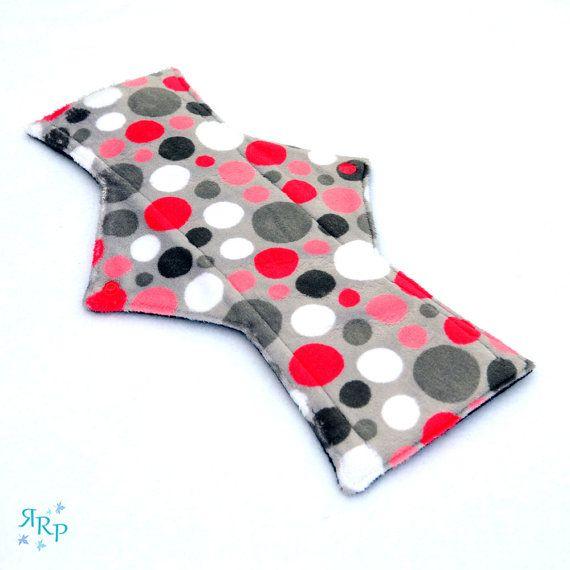 "12"" Night Postpartum Bubble Dot Watermelon Minky backed with premium WindPro Fleece Cloth Menstrual Pad, Mama Cloth, Cloth Pad, Reusable Pad"