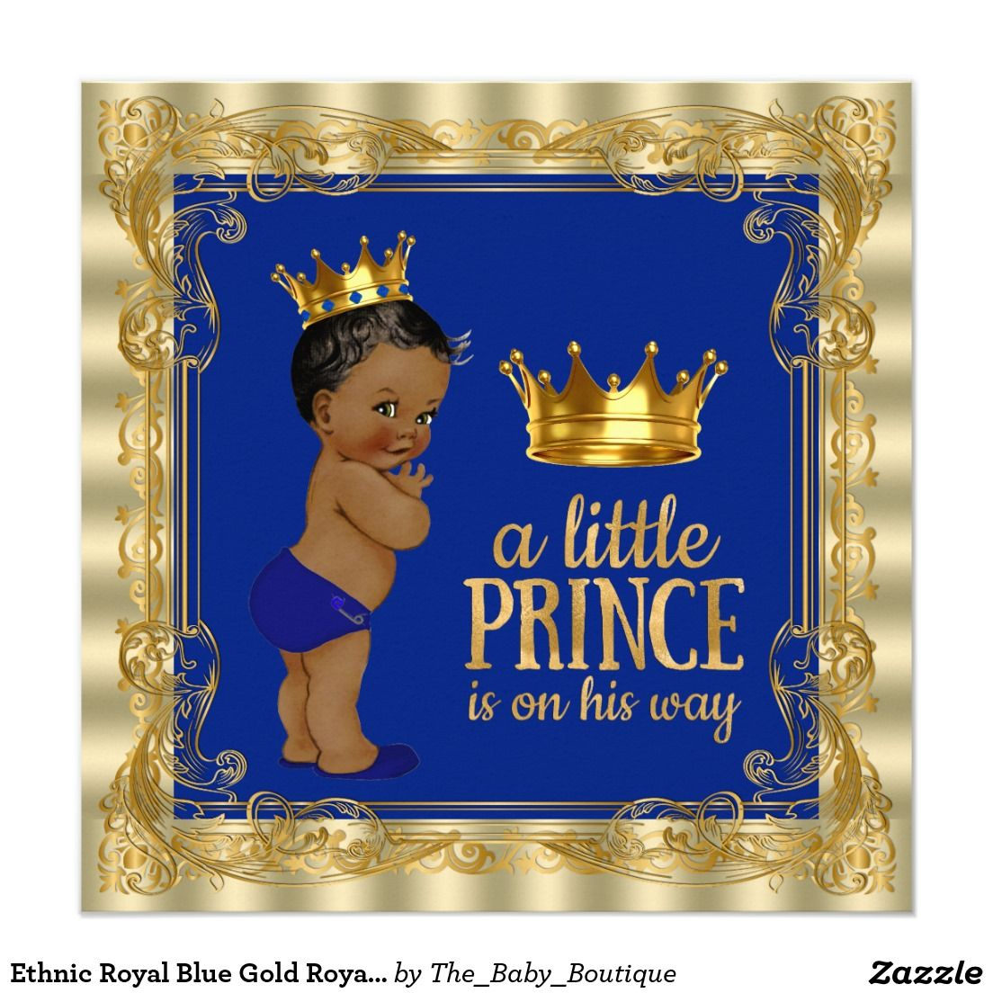 Ethnic Royal Blue Gold Royal Prince Baby Shower 5.25x5.25 Square Paper  Invitation Card
