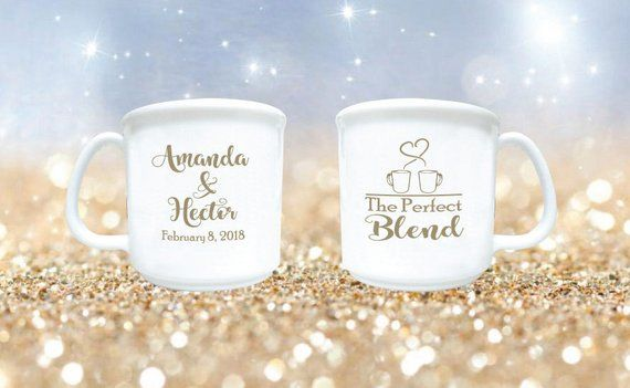 dd493680151 100 Wedding Favors The Perfect Blend Personalized 8oz Plastic Coffee Mugs  and Cocoa Mugs Winter Wedd