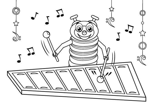 Coloriage Xylophone Instrument A Percussion Arts Primaire