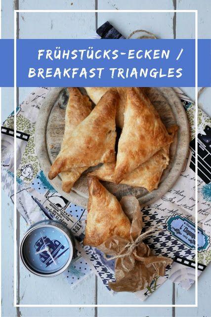 Frühstücks-Ecken mit Rührei für unterwegs. These breakfast triangles are the perfect food to take on the road.
