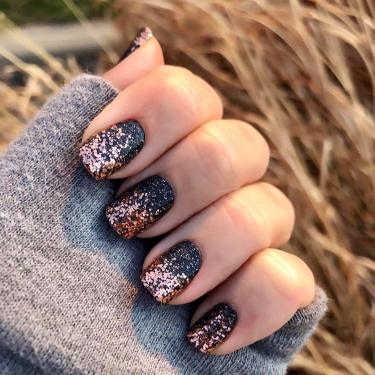 Black And Rose Gold Nails Color Street Nails Gold Nails Rose Gold Nails
