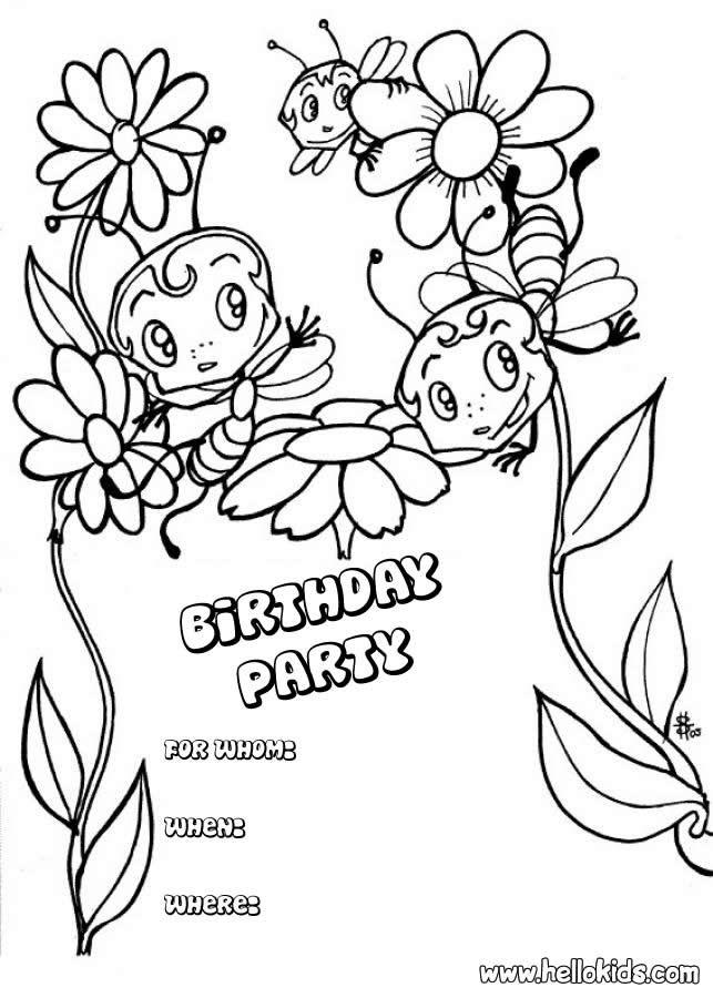 Bee Birthday Party Invitation Source 5ni Jpg 643 900 Geburtstag Malvorlagen Ausmalbilder Alles Gute Zum Geburtstag Karten
