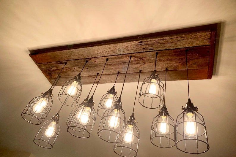 The Grizzly Bear Chandelier Rustic Barn Wood Industrial Cage