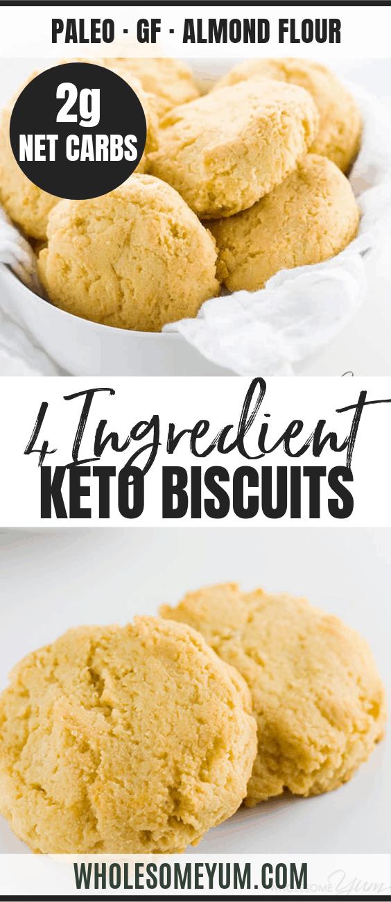 Low Carb Paleo Almond Flour Biscuits Recipe (Gluten-free) - 4 Ingredients