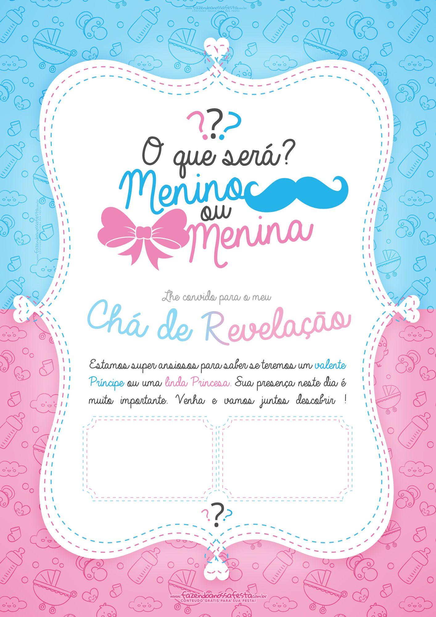 Convite Chá Revelação Baby Shower Tea Baby Y Baby Shower