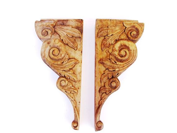 Antique French Hand Carved Wooden Brackets by FrenchMarketFinds, €63.00