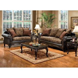 Sofa Slipcovers Furniture of America Ruthy Traditional Dark Brown Floral Sofa Loveseat Set