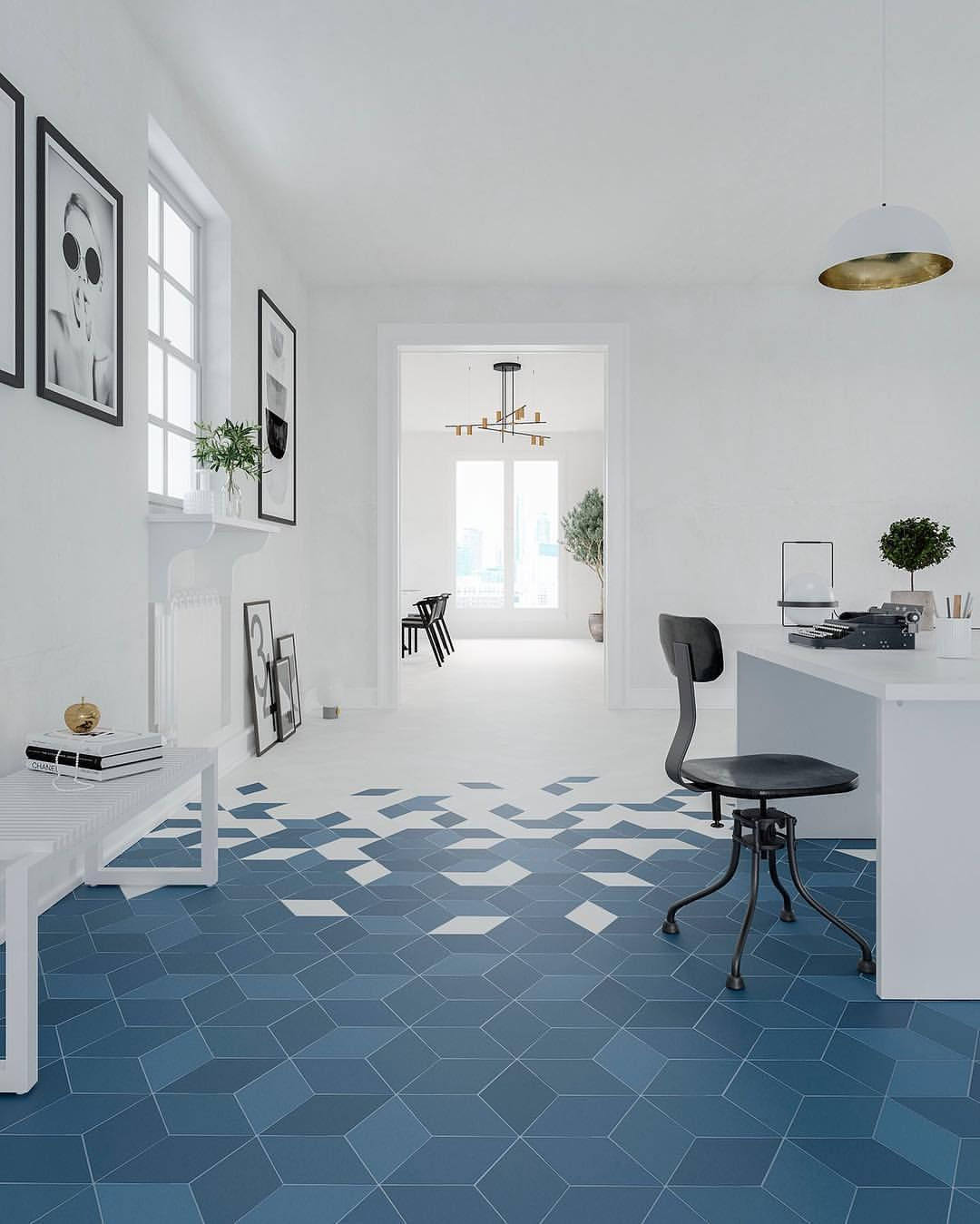 Mud Room To Kitchen Flow Diamond White Blue Flow Collection