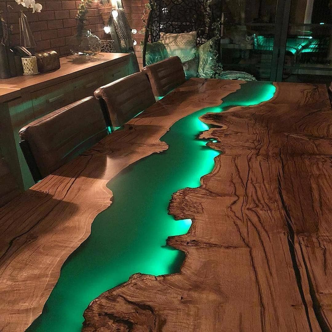 Green Dinner & Meeting Epoxy Table With Led Lighting