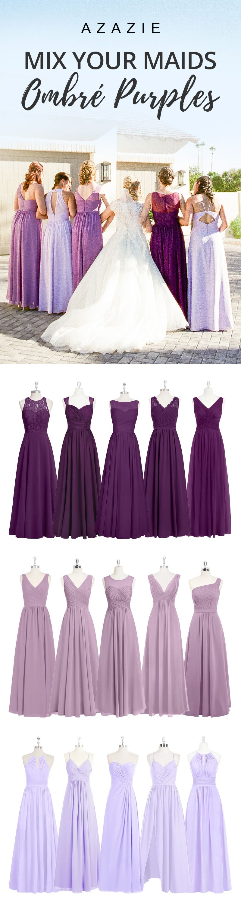 HJW Going With Different Colors Of Purple For Bridesmaid Dresses An Ombre Look