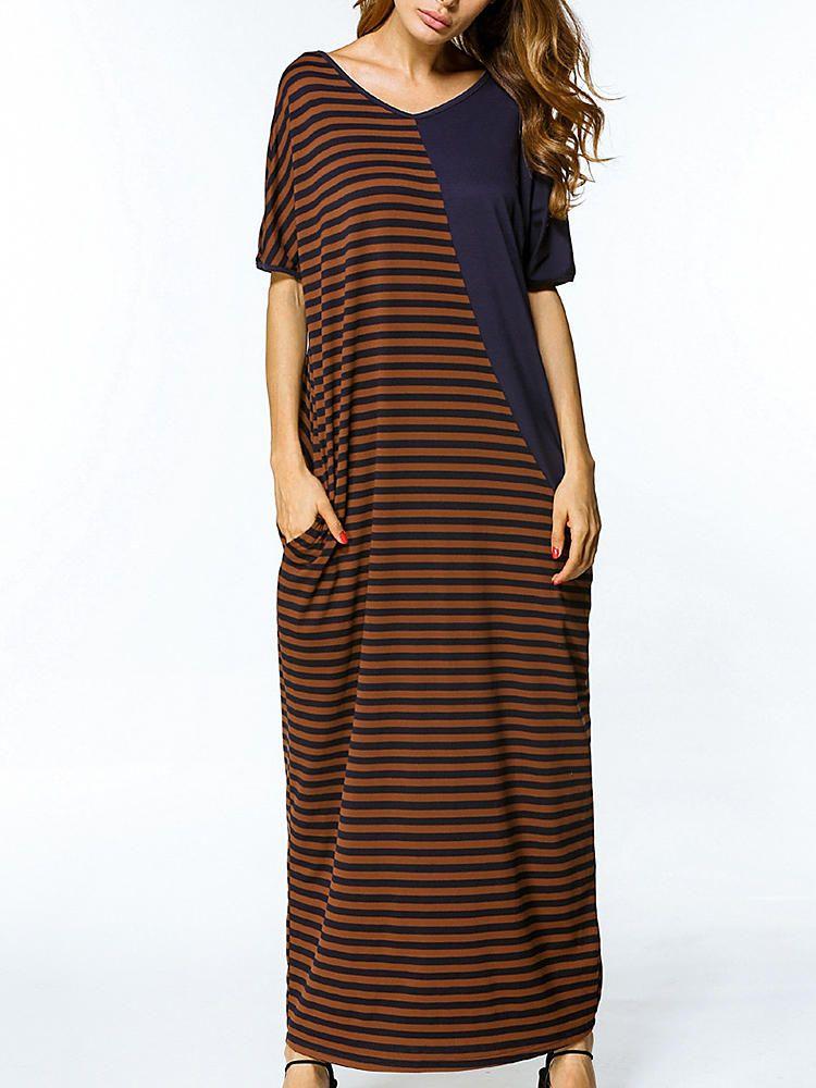 2e241624085 Only US 26.59 shop stripe patchwork loose maxi dress at Banggood.com. Buy  fashion