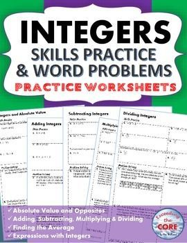 integers homework practice worksheets skills practice with word problems middle school. Black Bedroom Furniture Sets. Home Design Ideas