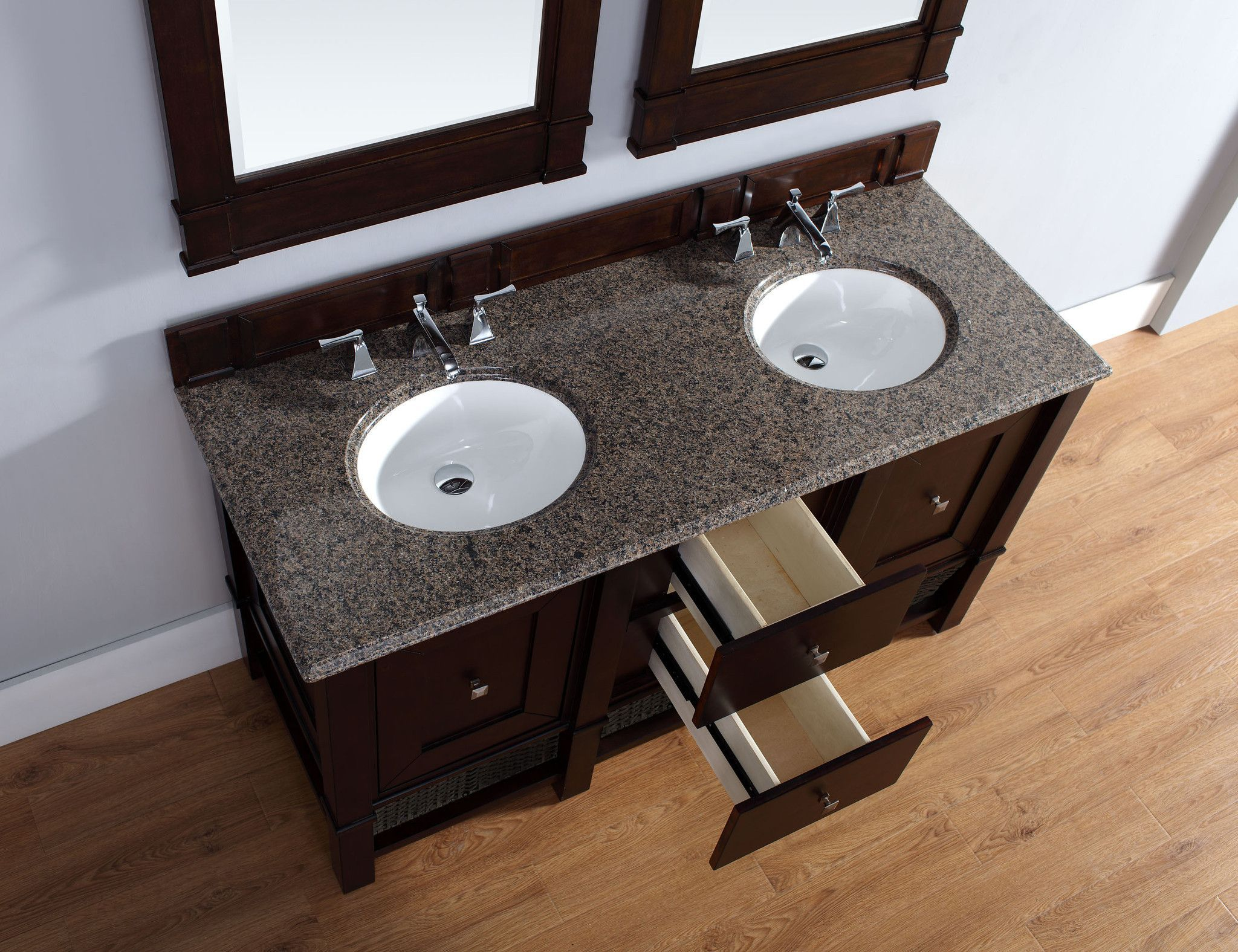 """James Martin 800-V60D-BNM-TBR Madison 60"""" Burnished Mahogany Double Vanity with Tropical Brown Stone Top"""