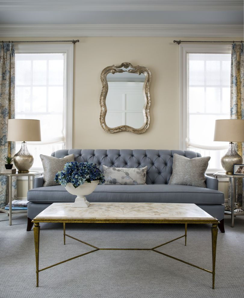 Silver Elements Beautifully Complement A Powder Blue Sofa In This Living Room Designed By Elissagrayer Luxe Living Room Nyc Interior Design Interior Design