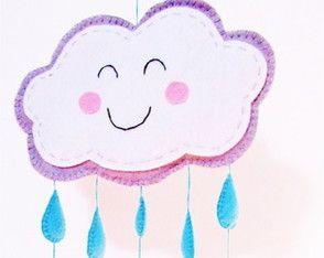 móbile infantil em feltro - nuvem e chuva