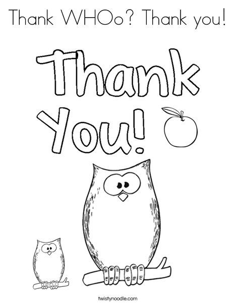 Thank Whoo Thank You Coloring Page Twisty Noodle Preschool