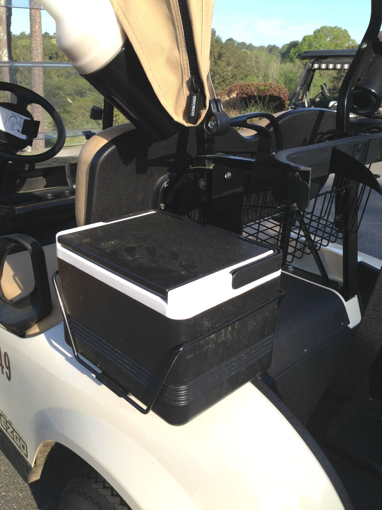 small resolution of a golf cart cooler that attaches to the back fender fits several ez go golf cart