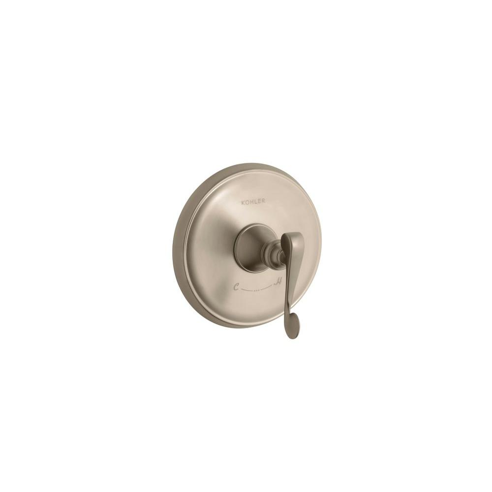 KOHLER Revival 1-Handle Thermostatic Valve Trim Kit with Scroll Lever Handle in Vibrant Brushed Bronze (Valve Not Included)