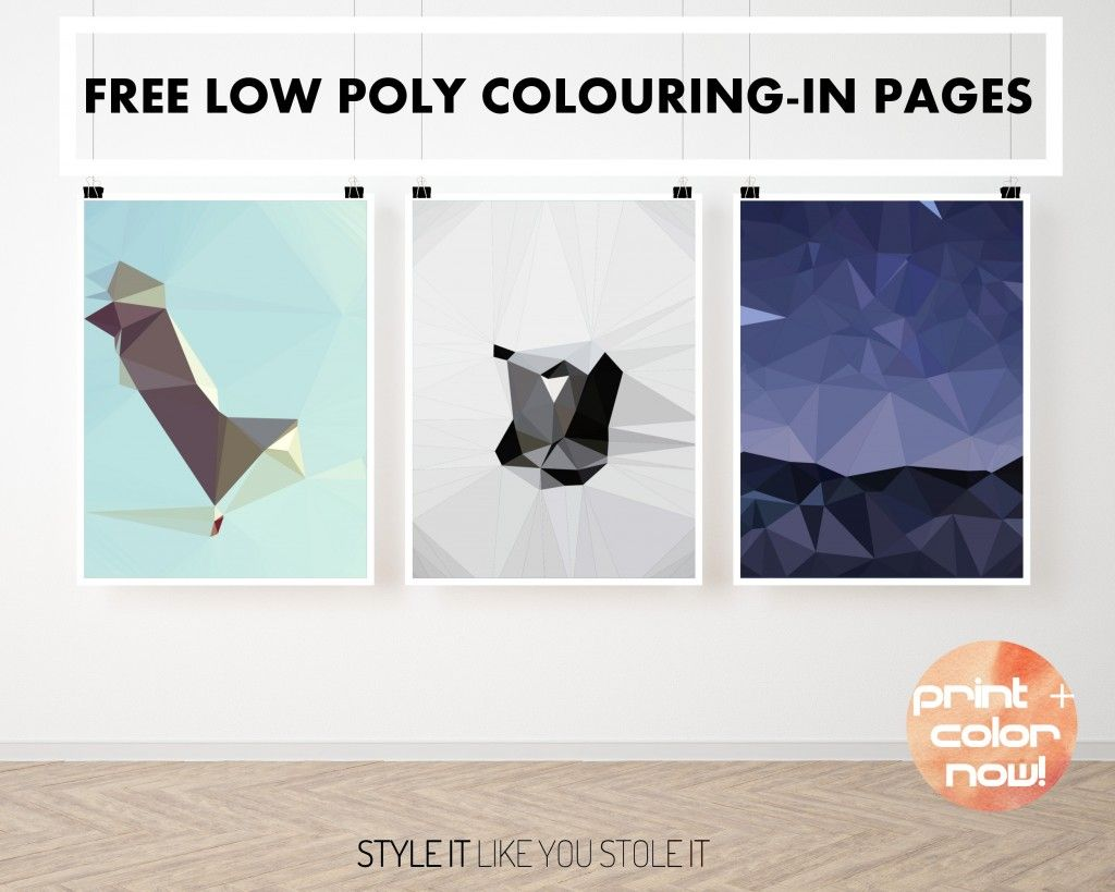 Colouring in book free - Free Coloring In Book Pages For Adults Super Cool Low Poly Color In Printable Art