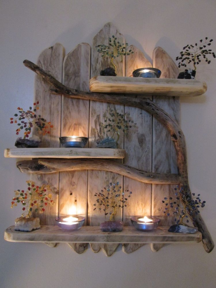 Shabby Chic Nautical Decor: Charming Natural Genuine Driftwood Shelves Solid Rustic