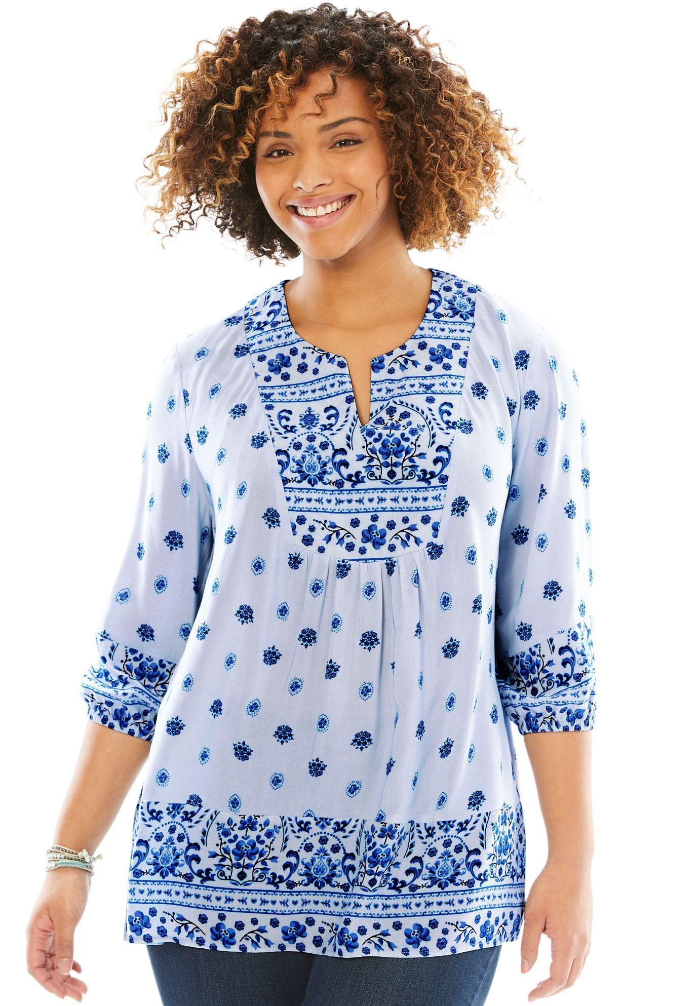 c7af77c1c48 Floral Print Peasant Blouse - Women s Plus Size Clothing