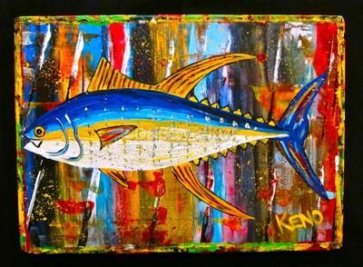 YELLOWFiN TUNA~ FiSH painting~Abstract FOLK ART outsider~Maine~COASTWALKER