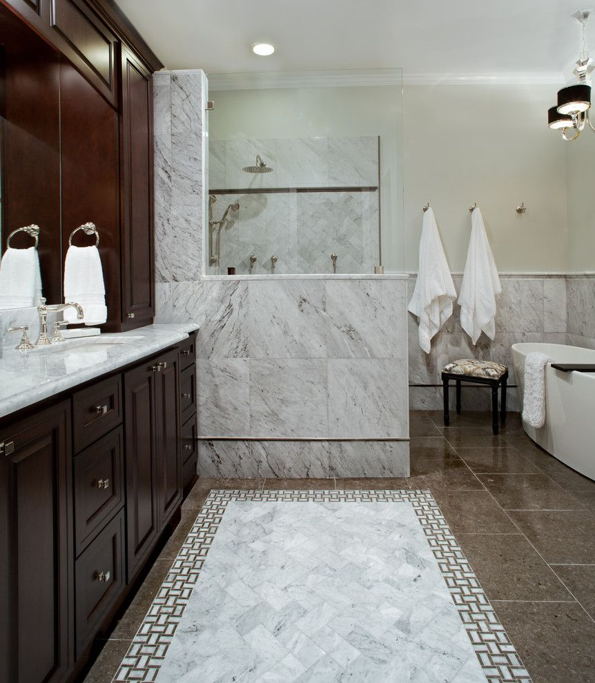 Www Uttermost Com Bathroom Traditional With Carrara Marble Cherry Cabinets Custom Mosaic