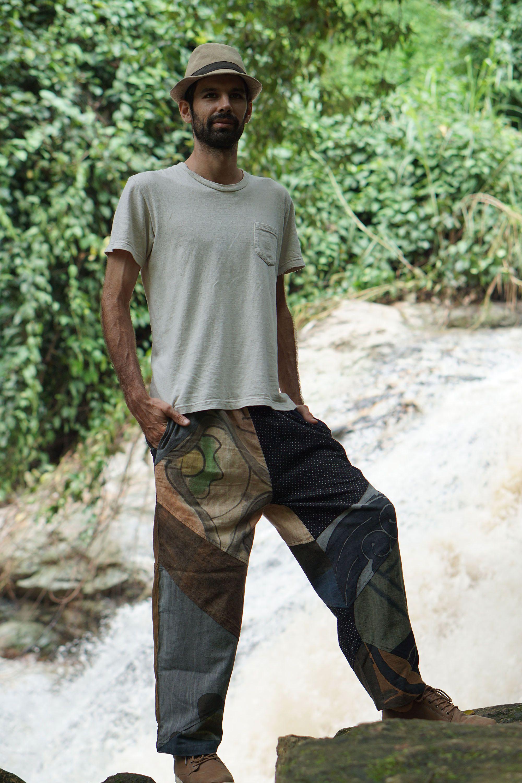 Harem Hippie Pants Tie Dye Orange Brown Yoga Festival Loose Boho Festival Gypsy