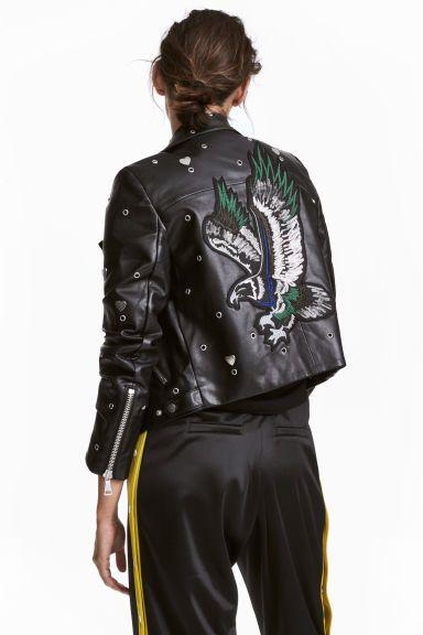 Giacca in pelle stille motociclista short cut con borchie in