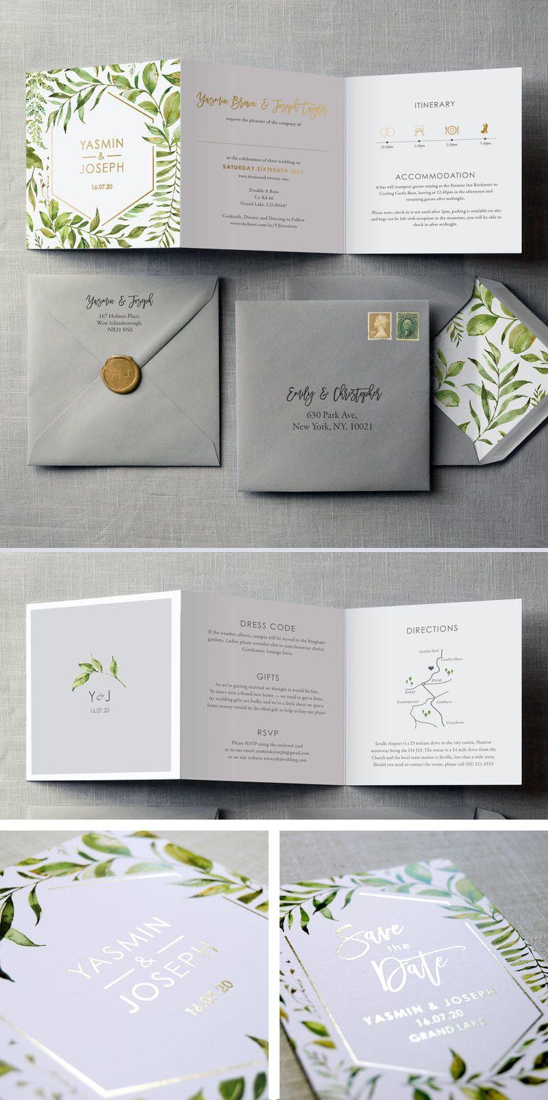 Tuscany Wedding Invitation Greenery and Gold, Save the