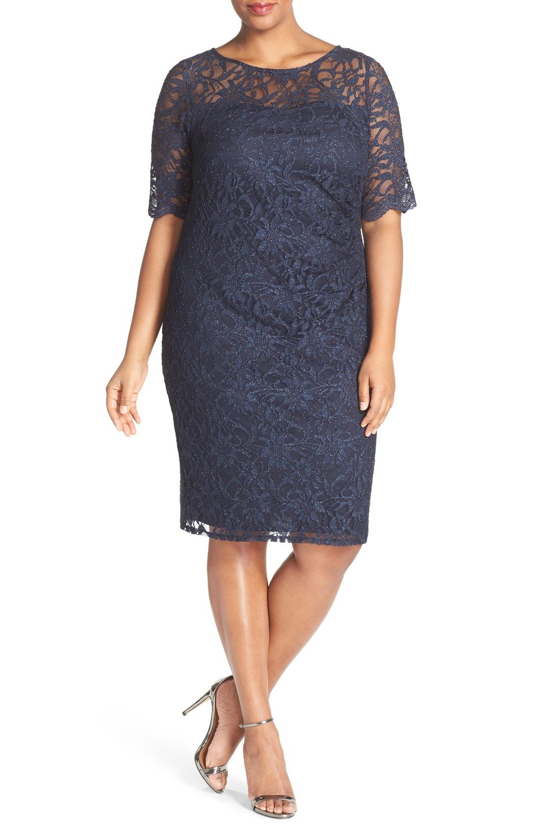 Xscape Shimmer Lace Side Ruched Cocktail Dress (Plus Size) available ...