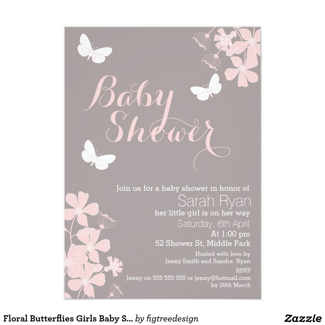Floral Butterflies Girls Baby Shower Invitation | Baby shower ...