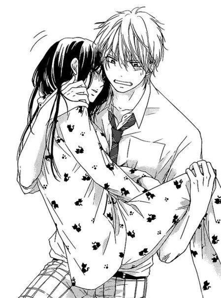 19 Anime Black And White Boy Couple Cute Girl Hug Kawaii