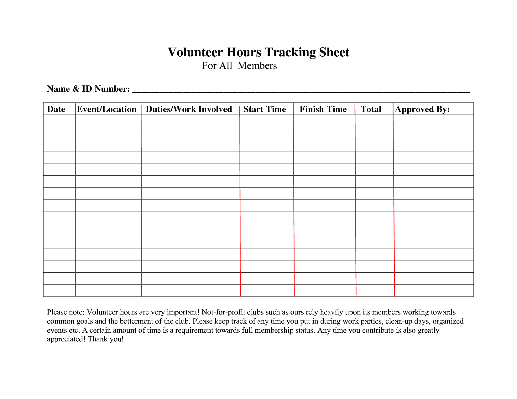 volunteer hours log sheet template forms pinterest volunteer