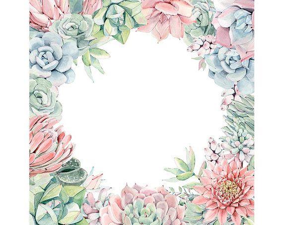 Watercolour Succulent Flower Frame Border Clip Art Graphic