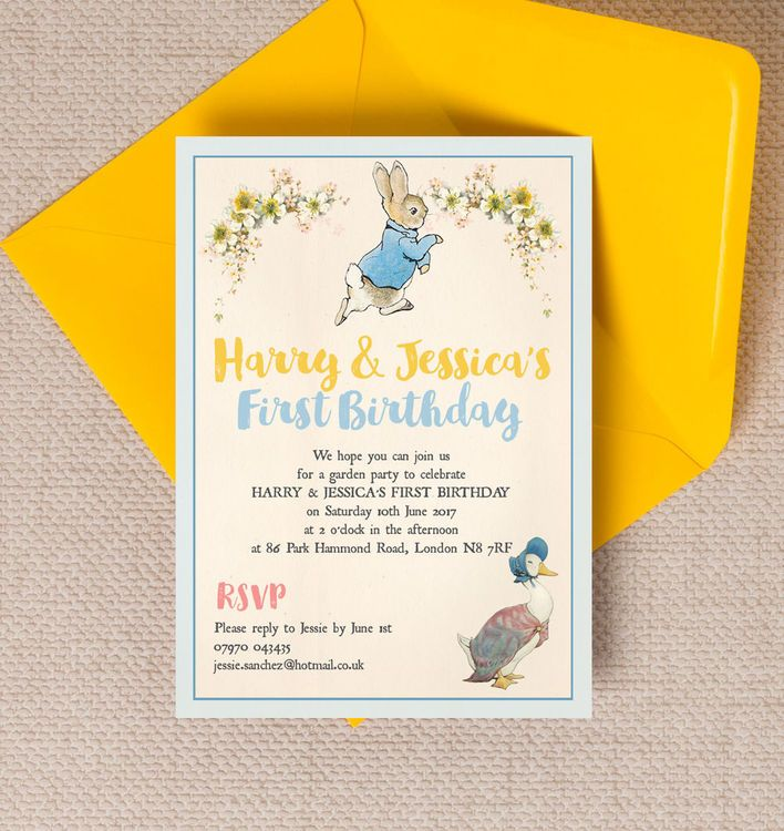 Peter Rabbit & Jemima Puddle Duck Party Invitation | Peter rabbit ...