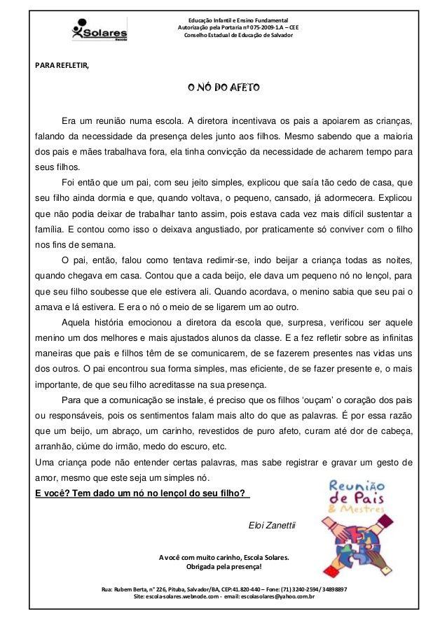 Mensagem Para Pais Reunião Education Texts Teaching