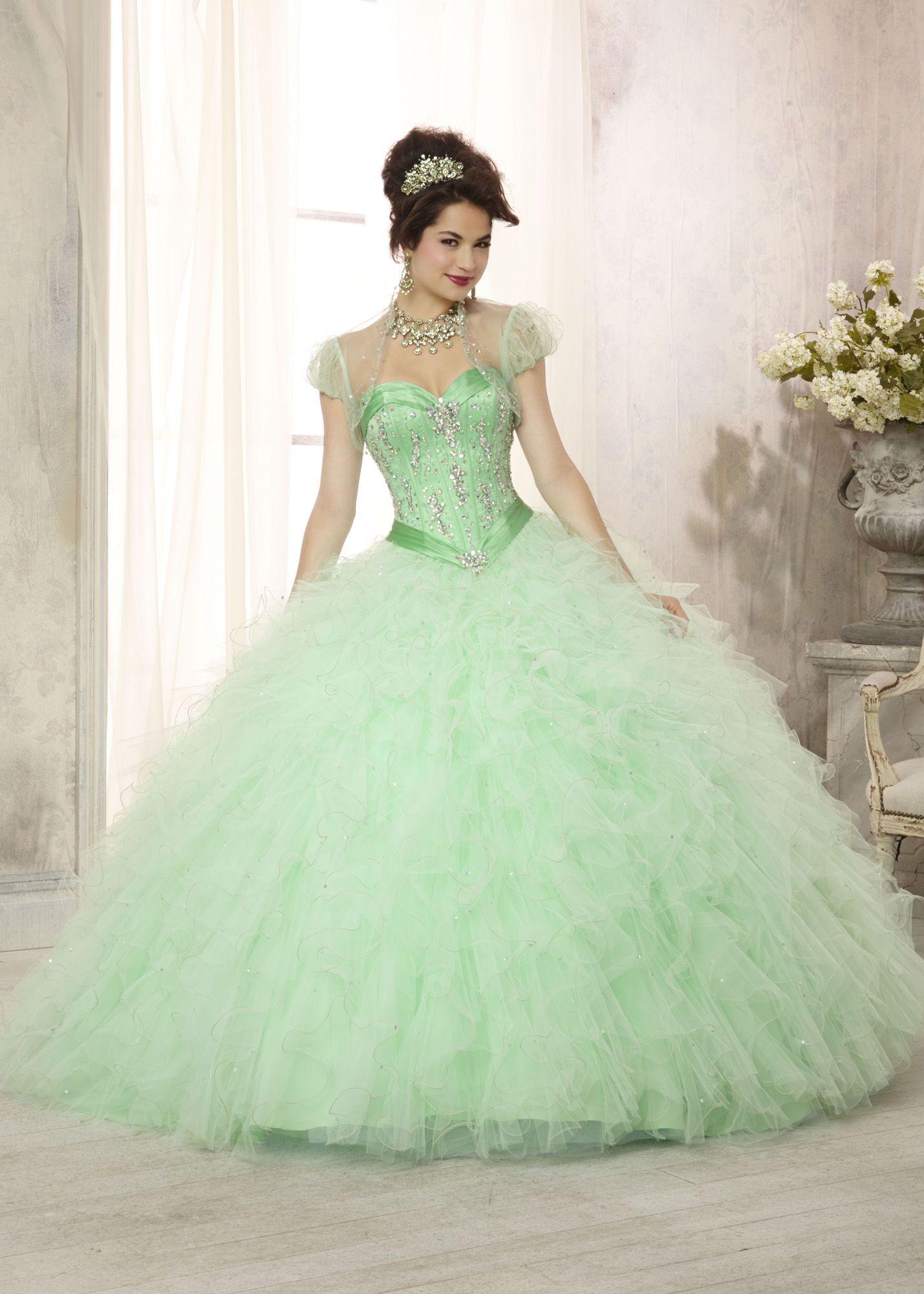 b7c8a3144 Vestidos de princesa para fiesta de 15 años. Vizcaya 88085 - Mint Satin  Beaded Quinceanera Prom Dresses Online  thepromdresses