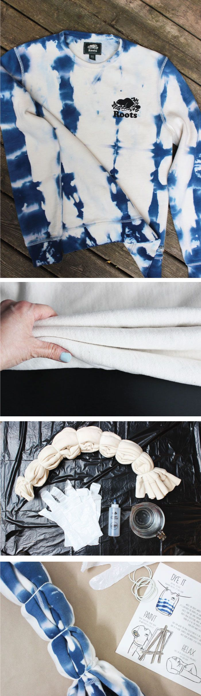 diy shibori cooles sweatshirt batiken textilien f rben shibori und diy kleidung. Black Bedroom Furniture Sets. Home Design Ideas