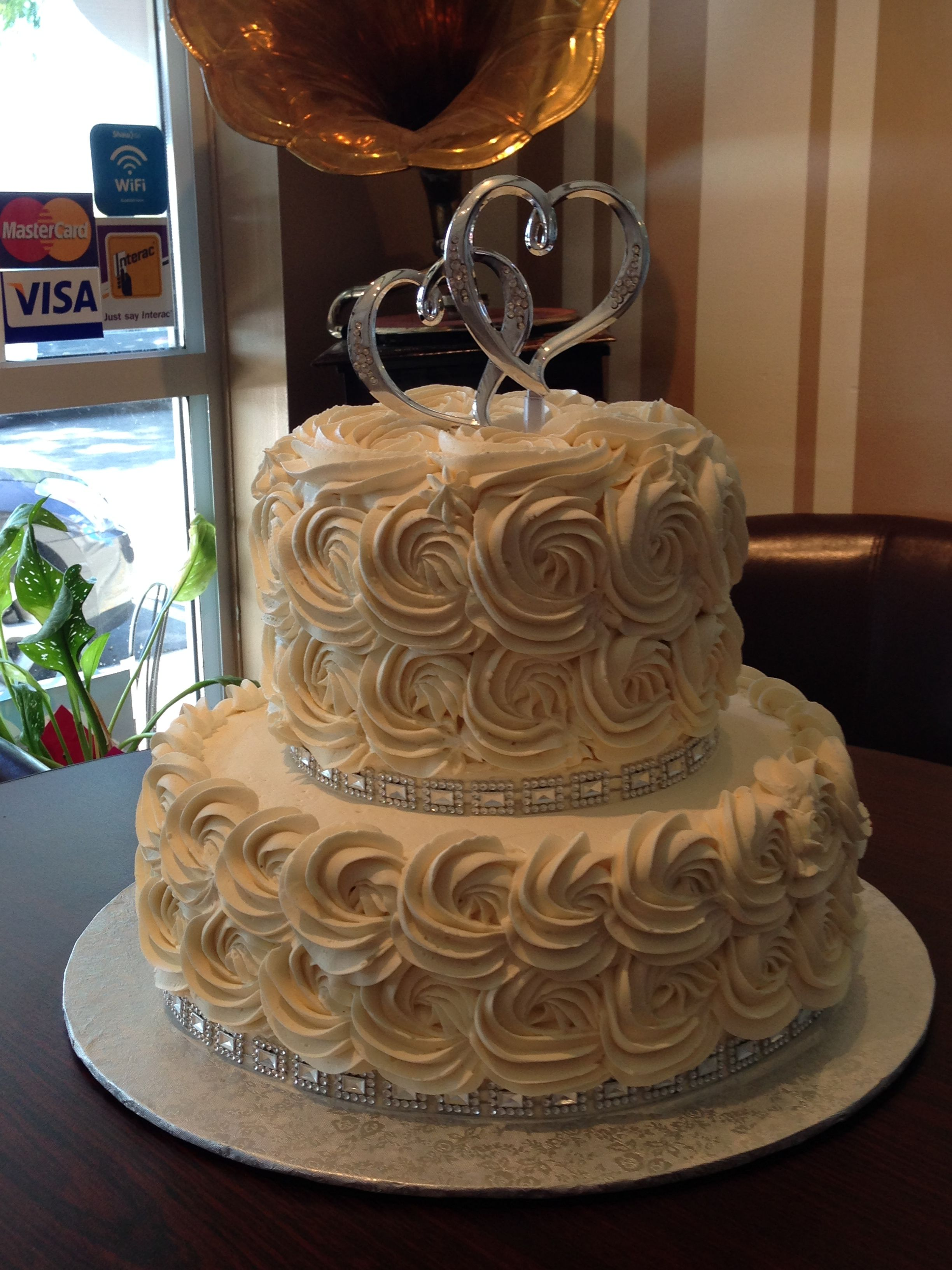 The Silver Bling Really Makes This Simple 2 Tier Rosette Cake Go